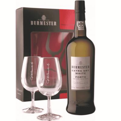 Portské víno Burmester Extra Dry White se 2 skleničkami v dárkovém boxu