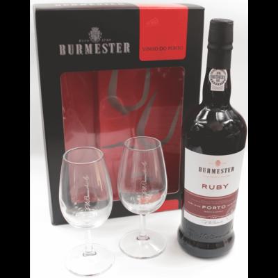 Portské víno Burmester Ruby se 2 skleničkami v papírovém boxu