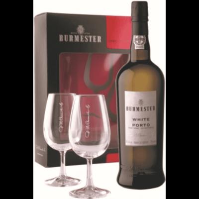 Portské víno Burmester White se 2 skleničkami v papírovém boxu